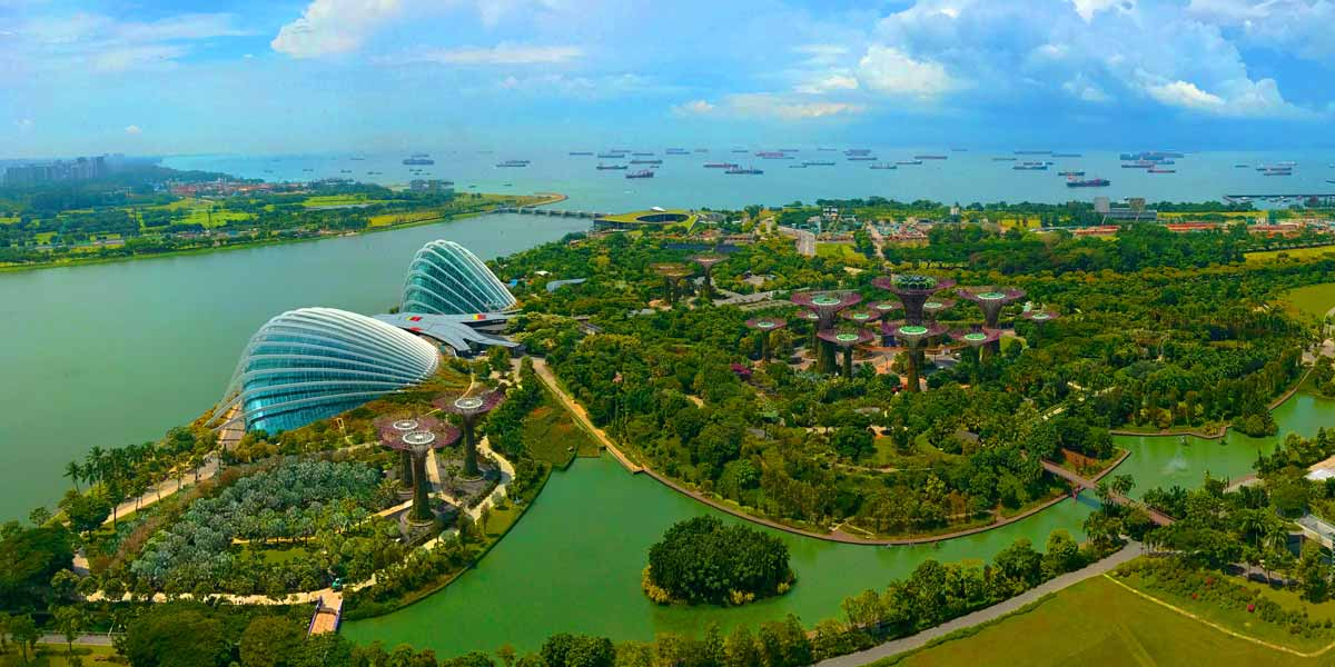 Marina South, Marina Barrage, Gardens by the Bay, Ships in Singapore Strait, Singapore