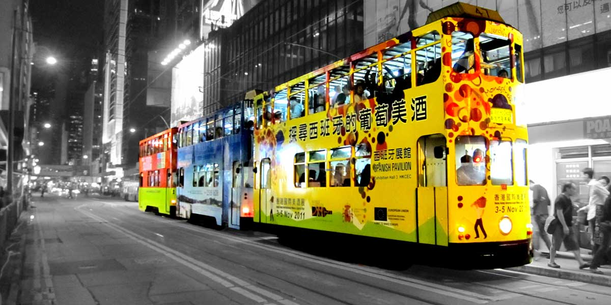 Double-Decker Tram on Des Voeux Road, Hong Kong